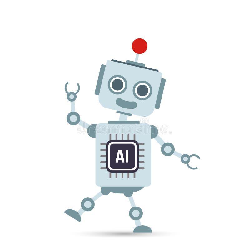 Desenhos animados 001 do robô da tecnologia de inteligência artificial do AI ilustração do vetor
