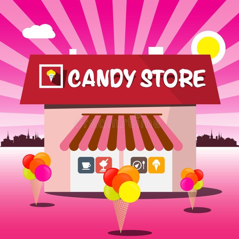 Desenhos animados do rosa do vetor da loja de doces ilustração stock