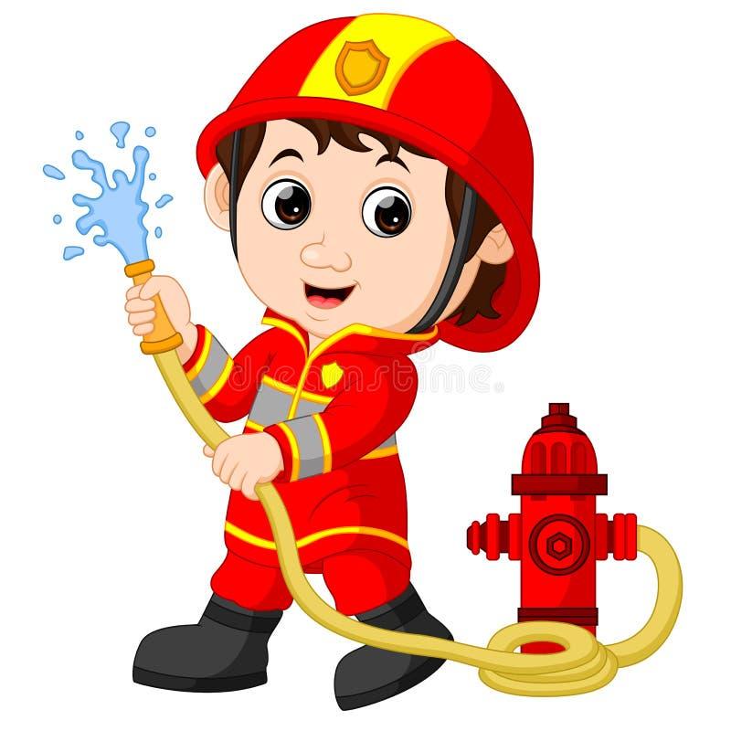 Desenhos animados do sapador-bombeiro ilustração royalty free