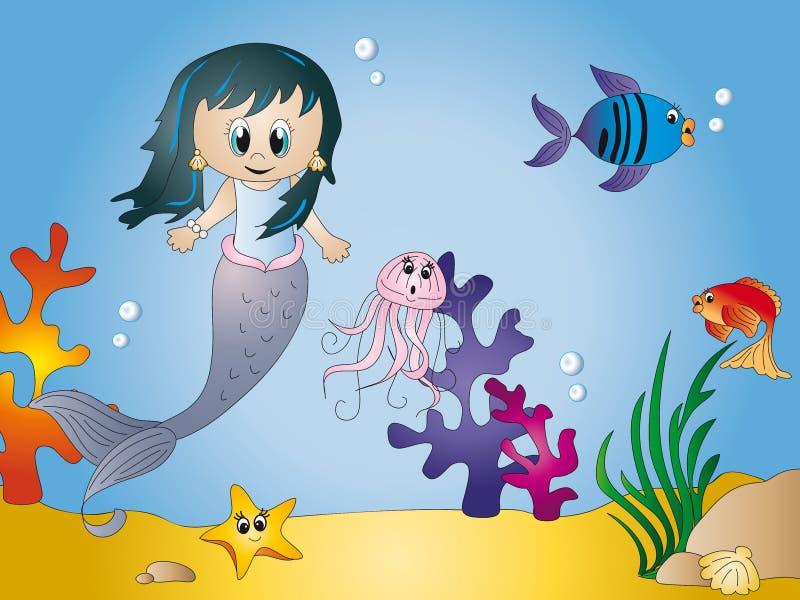 Desenhos animados do Seascape ilustração stock