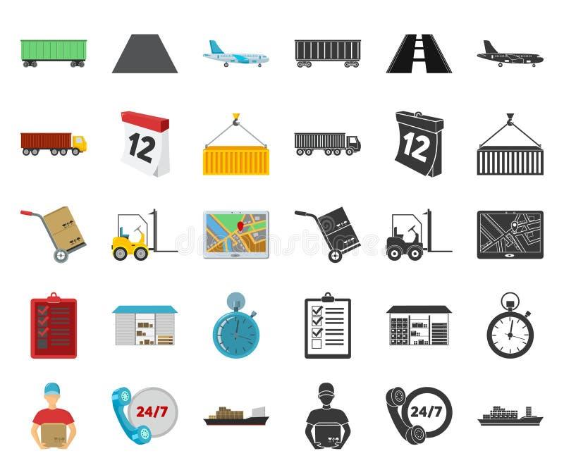Desenhos animados do serviço da logística, ícones pretos em coleção ajustada para o projeto Web do estoque do símbolo da logístic ilustração royalty free