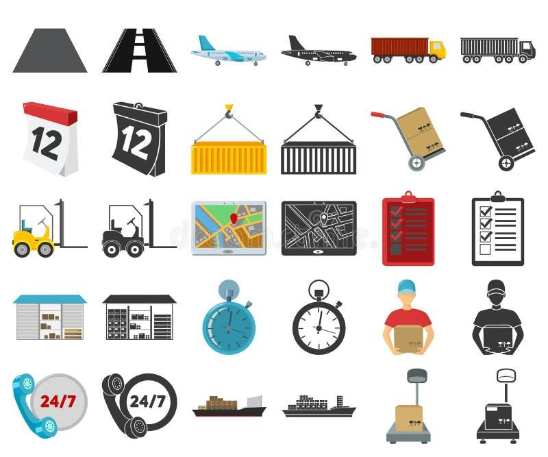 Desenhos animados do serviço da logística, ícones pretos em coleção ajustada para o projeto Web do estoque do símbolo da logístic ilustração do vetor