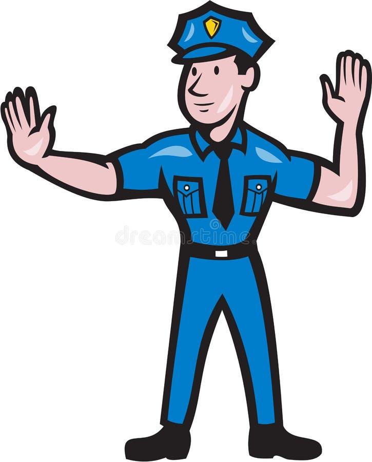 Desenhos animados do sinal de mão da parada do polícia de tráfego ilustração stock