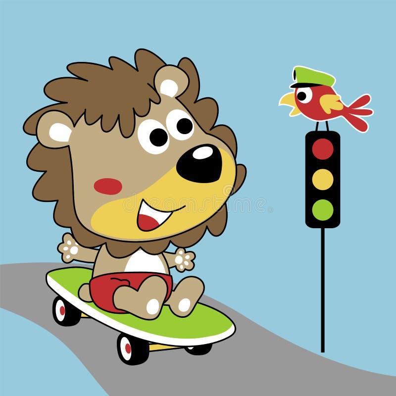 Desenhos animados do skate bonito do jogo do leão na rua com um pássaro seu suporte do amigo em um sinal ilustração do vetor