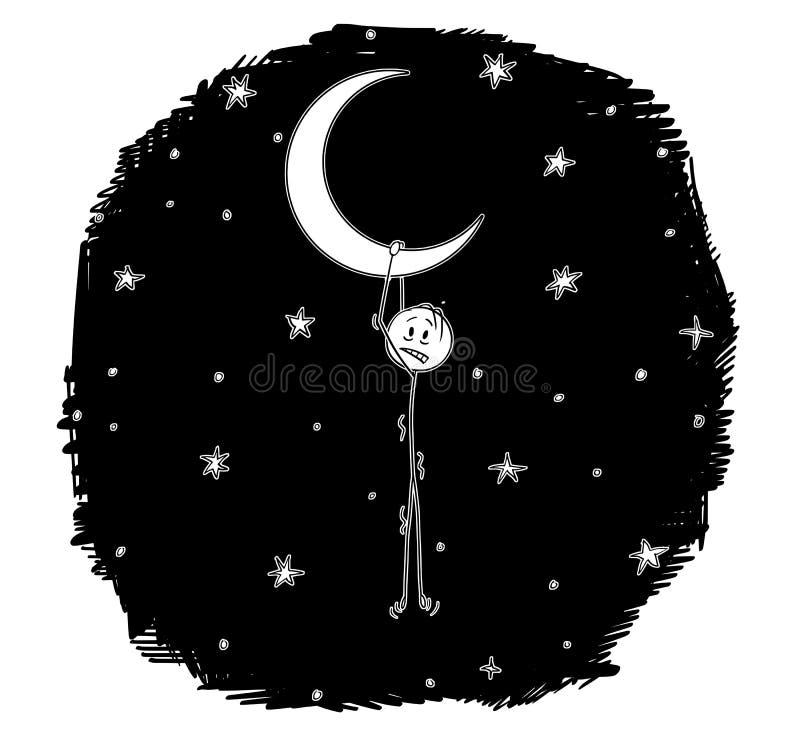 Desenhos animados do sonhador do homem que penduram na lua crescente ou Horned ilustração stock
