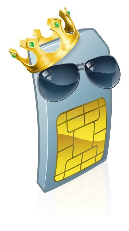 Desenhos animados do telefone celular de Sim Card Cool King Cool ilustração do vetor