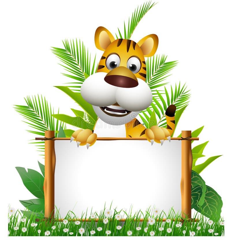 Desenhos animados do tigre com placa ilustração do vetor