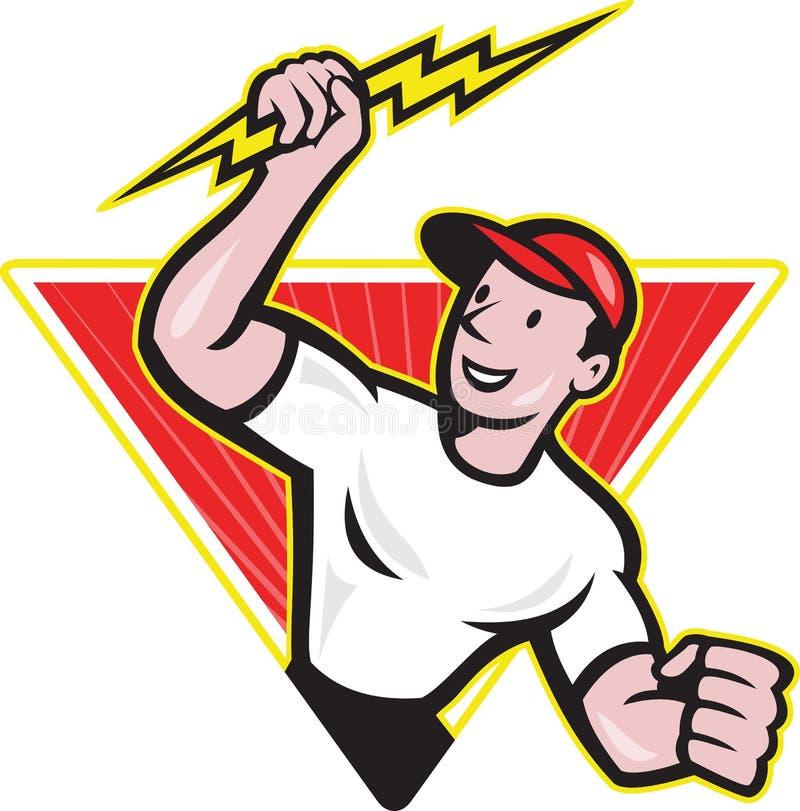 Desenhos animados do trabalhador da construção do eletricista ilustração do vetor