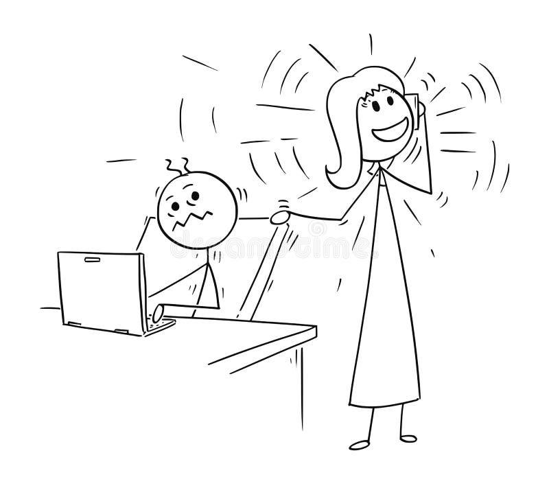 Desenhos animados do trabalhador de escritório perturbados mas do telefone que chama o colega ilustração royalty free