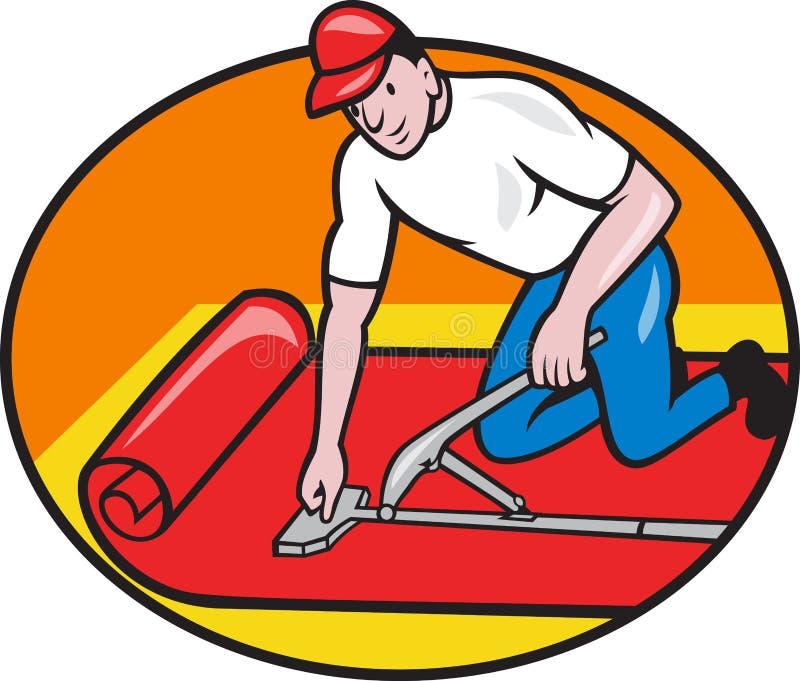 Desenhos animados do trabalhador do ajustador da camada do tapete ilustração stock