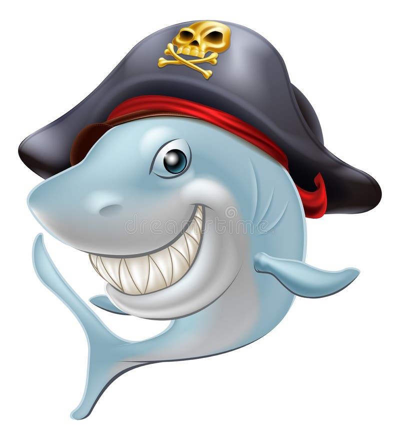 Desenhos animados do tubarão do pirata ilustração stock