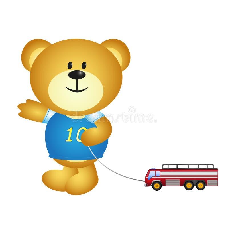 Desenhos animados do urso do menino que jogam brinquedos ilustração stock