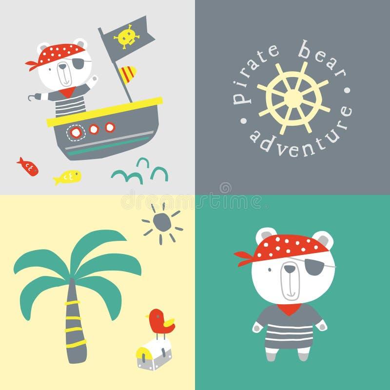 Desenhos animados do urso do pirata ilustração stock