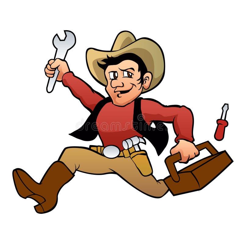 Desenhos animados do vaqueiro do trabalhador manual ilustração royalty free