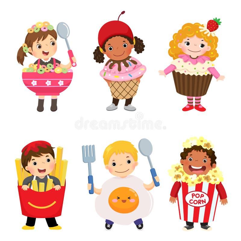 Desenhos animados do vetor de crianças bonitos nos trajes do alimento ajustados Pano do carnaval ilustração stock