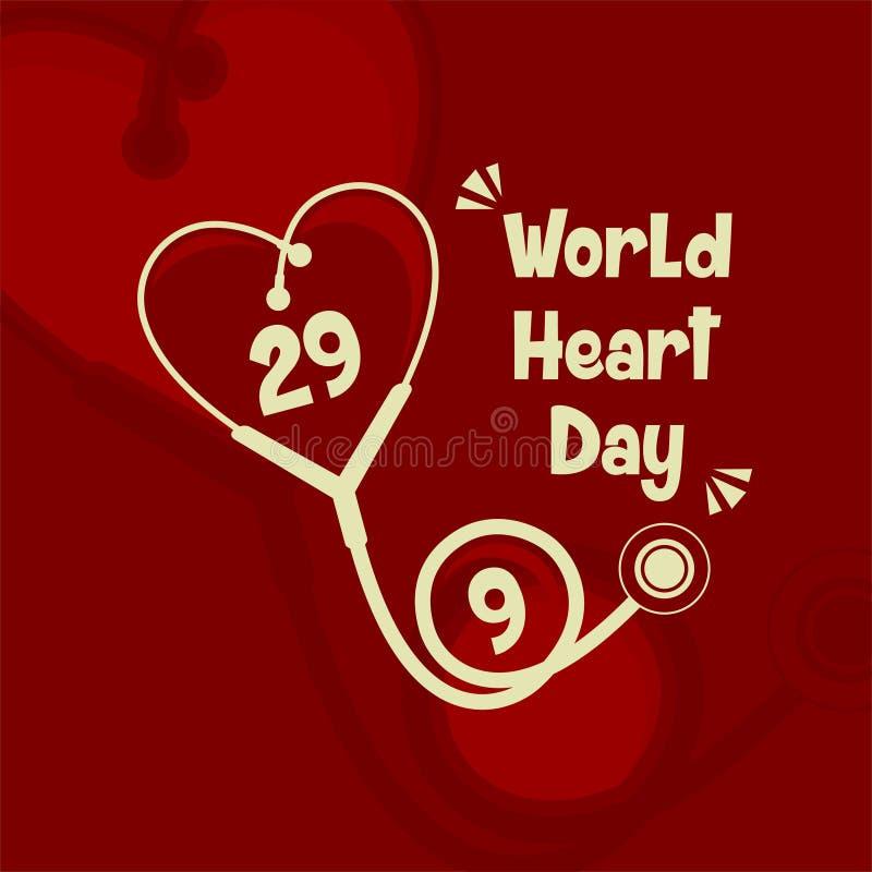 Desenhos animados do vetor do dia do coração do mundo ilustração stock