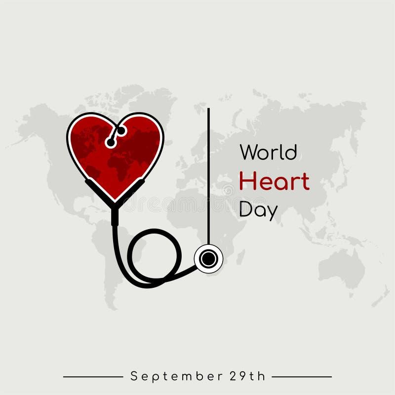 Desenhos animados do vetor do dia do coração do mundo ilustração do vetor