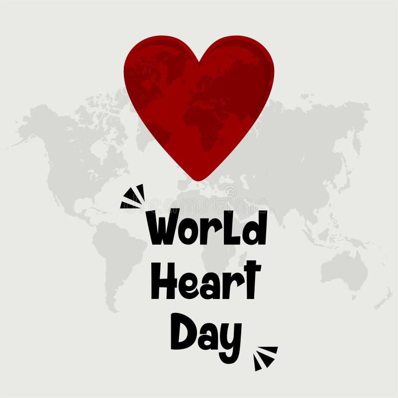 Desenhos animados do vetor do dia do coração do mundo ilustração royalty free