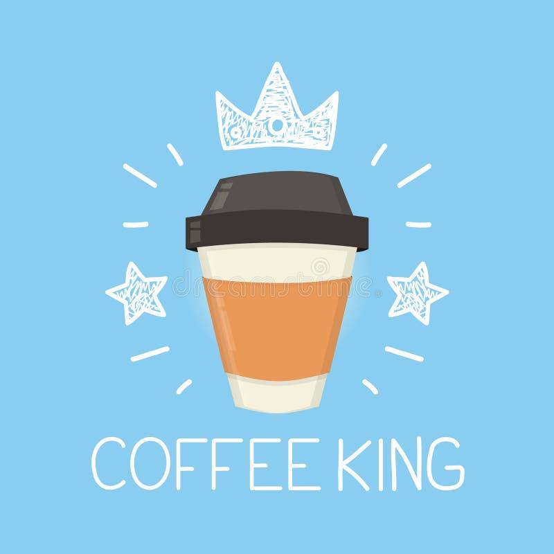 Desenhos animados do vetor do rei do café lisos e ilustração da garatuja Ícone da coroa e das estrelas ilustração royalty free