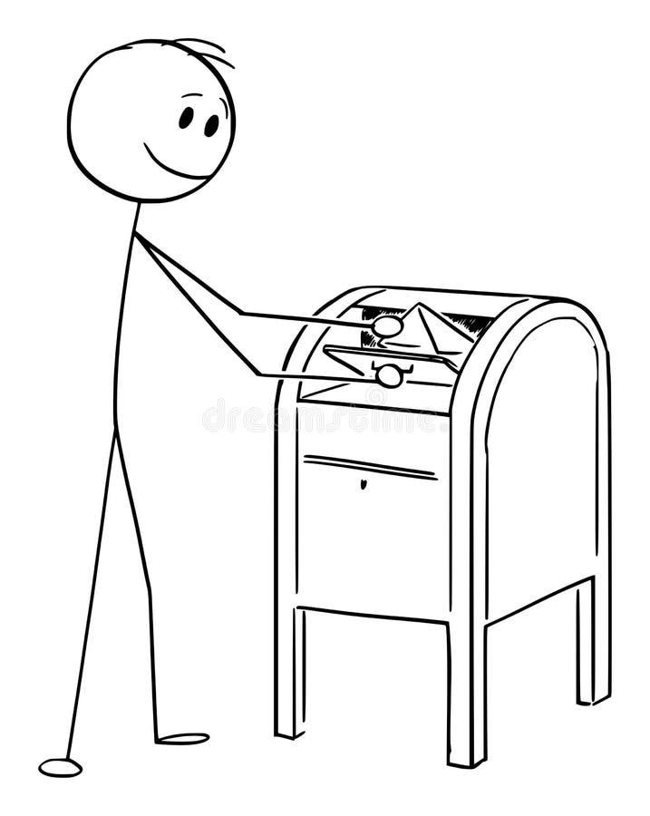 Desenhos animados do vetor do envelope ou da letra deixando cair do homem no cargo ou na caixa postal ilustração do vetor