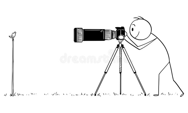 Desenhos animados do vetor do fotógrafo profissional Taking Photo do pássaro pequeno na natureza ilustração do vetor