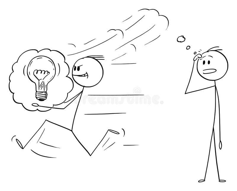 Desenhos animados do vetor do homem de negócios Stealing uma ideia a um outro homem ou concorrente ilustração do vetor