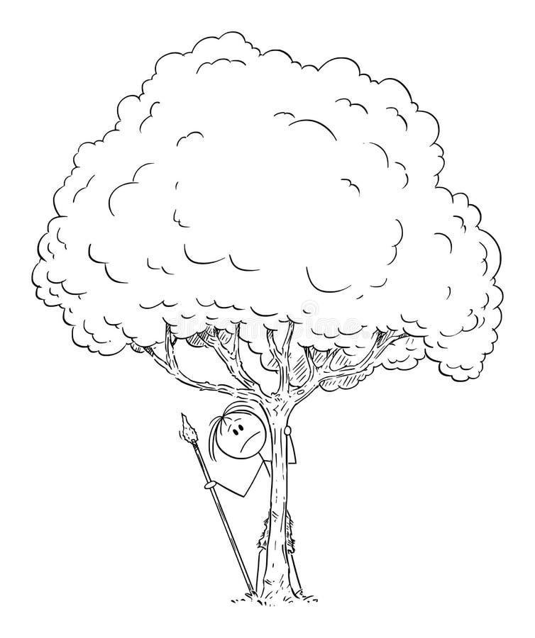 Desenhos animados do vetor do homem do homem nativo ou pré-histórico temível ou preocupado ou curioso que esconde atrás da árvore ilustração royalty free