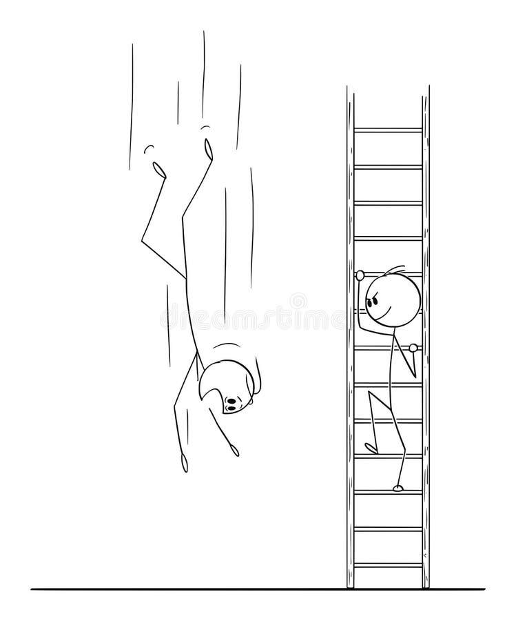 Desenhos animados do vetor do homem ou do homem de negócios Climbing Up a escada quando o concorrente do negócio cair para baixo ilustração royalty free