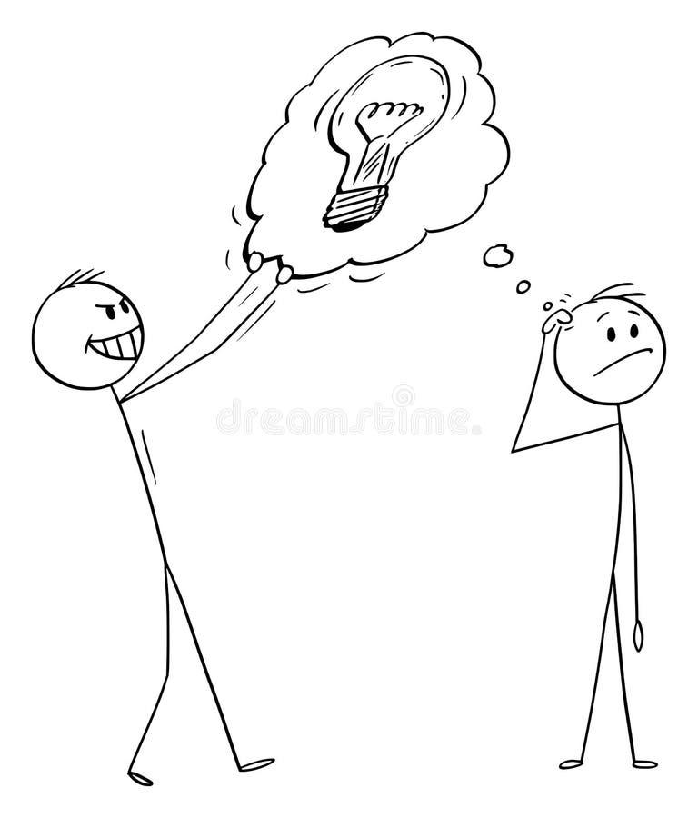 Desenhos animados do vetor do homem que pensam sobre a solução ou a invenção e o concorrente que roubam sua ideia ilustração royalty free