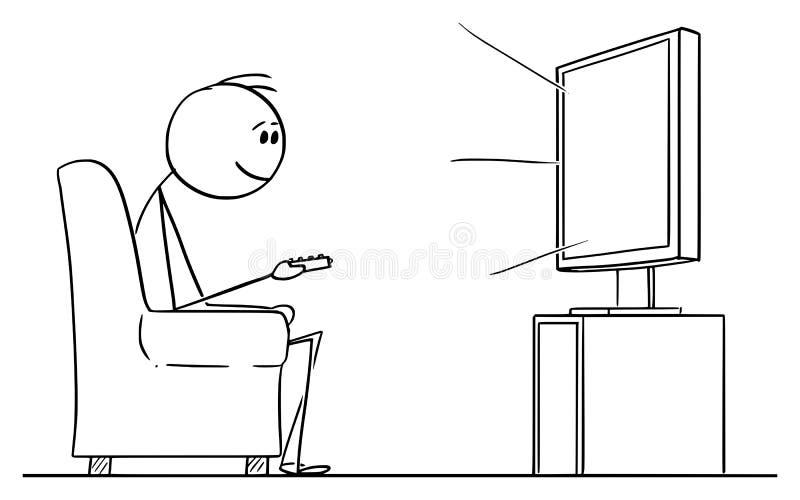Desenhos animados do vetor do homem que sentam-se na poltrona e tevê ou televisão de observação ilustração royalty free