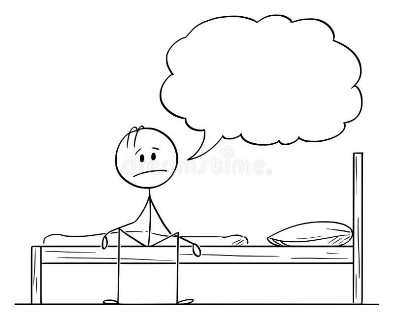 Desenhos animados do vetor do homem triste ou frustrante ou deprimido que senta-se na cama e que diz algo ilustração royalty free