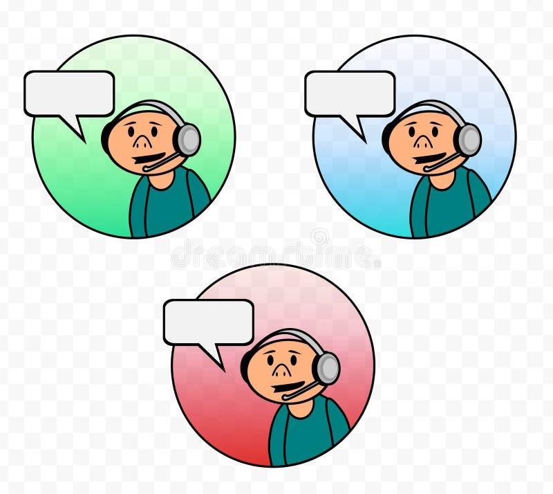 Desenhos animados do vetor do suporte técnico do serviço ao cliente ilustração stock