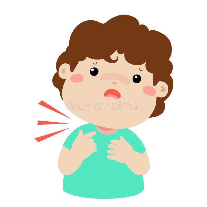 Desenhos animados doentes da garganta inflamada do menino ilustração do vetor