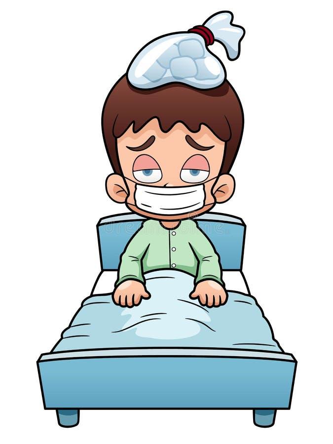 Desenhos animados doentes do menino ilustração stock