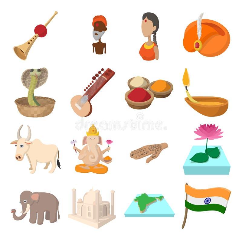Desenhos animados dos ícones da Índia ilustração royalty free