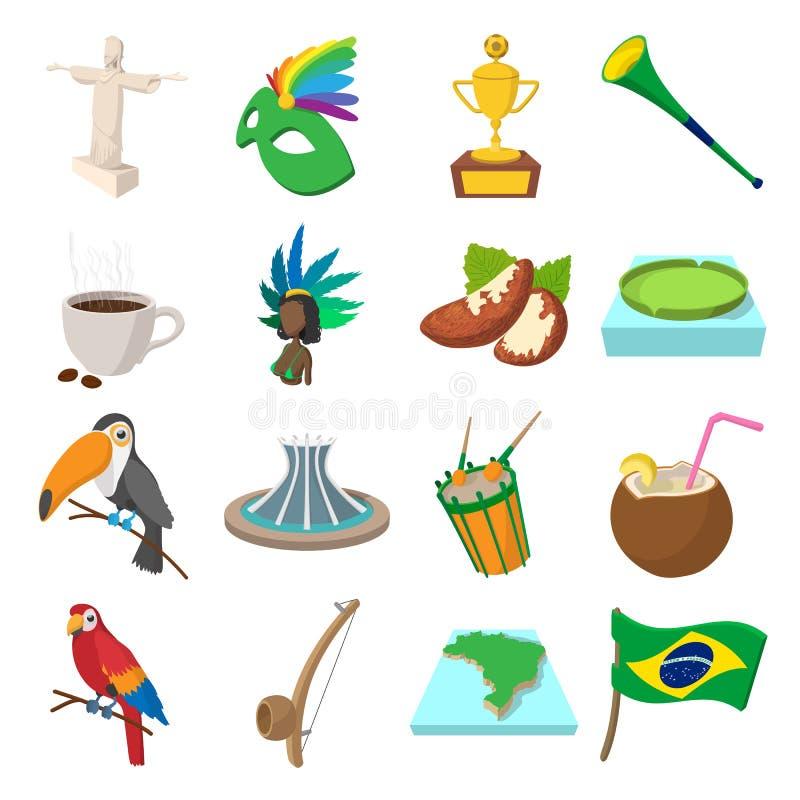 Desenhos animados dos ícones de Brasil ilustração royalty free