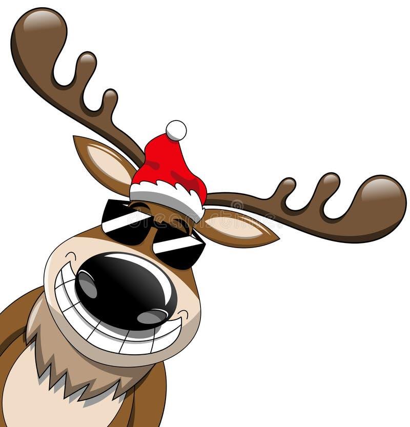 Desenhos animados dos óculos de sol do Natal da rena ilustração royalty free