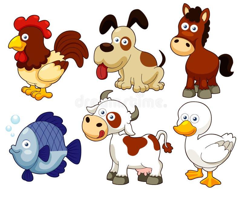 Desenhos animados dos animais de exploração agrícola ilustração royalty free