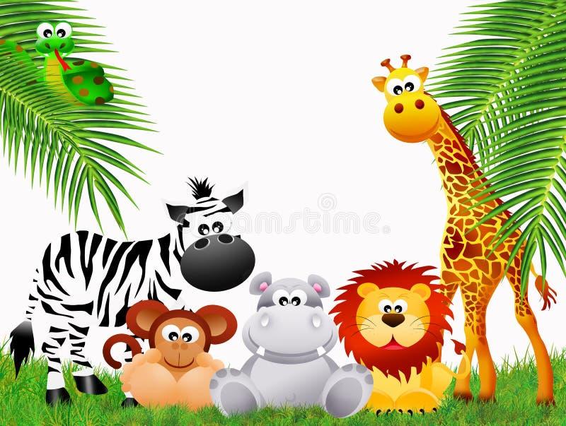 Desenhos animados dos animais do jardim zoológico imagens de stock