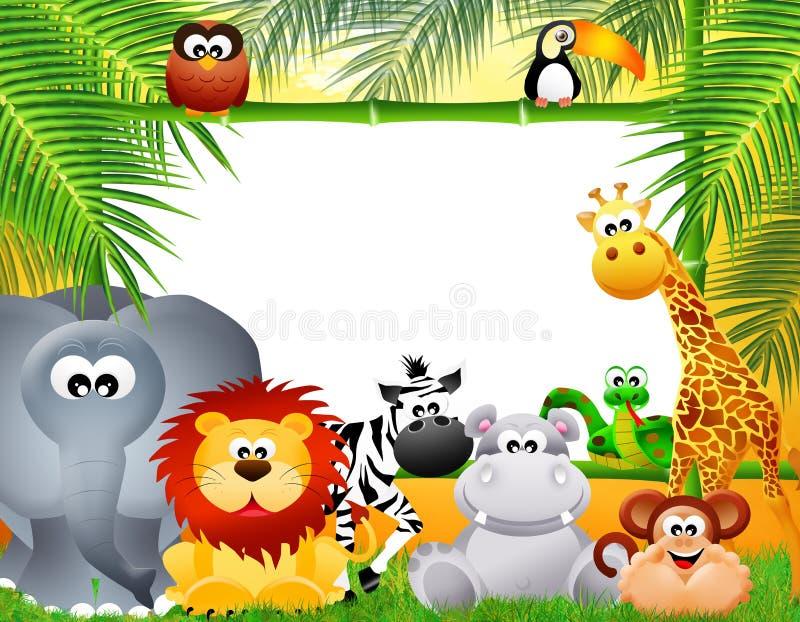 Desenhos animados dos animais do jardim zoológico imagem de stock royalty free