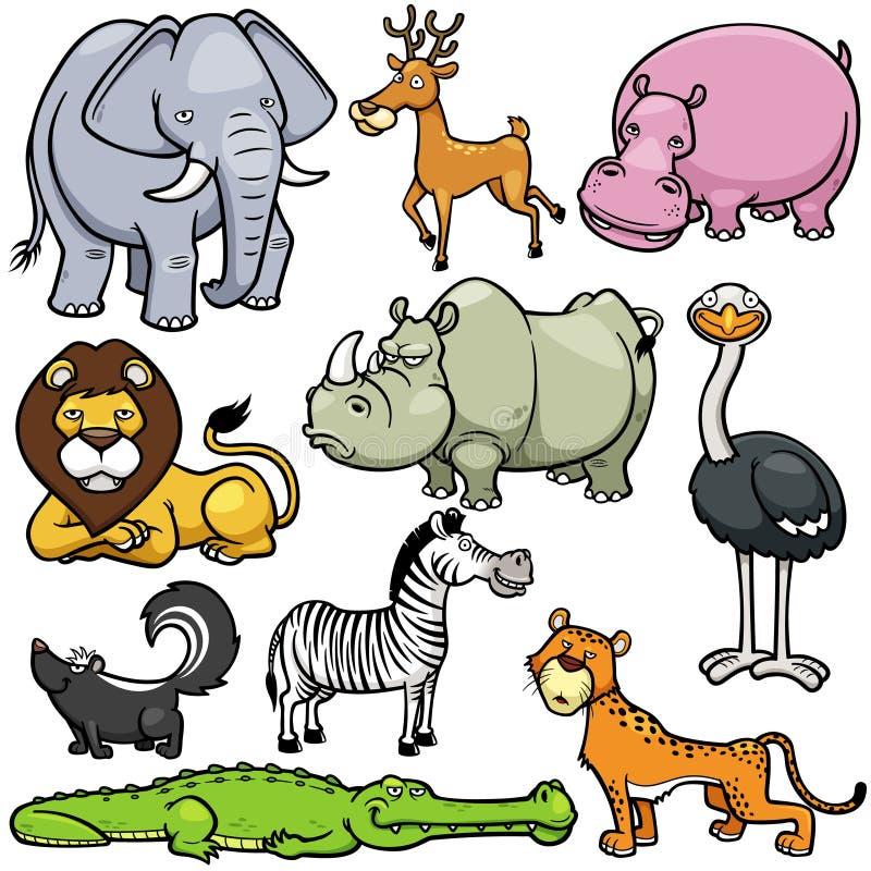 Desenhos animados dos animais selvagens ilustração stock