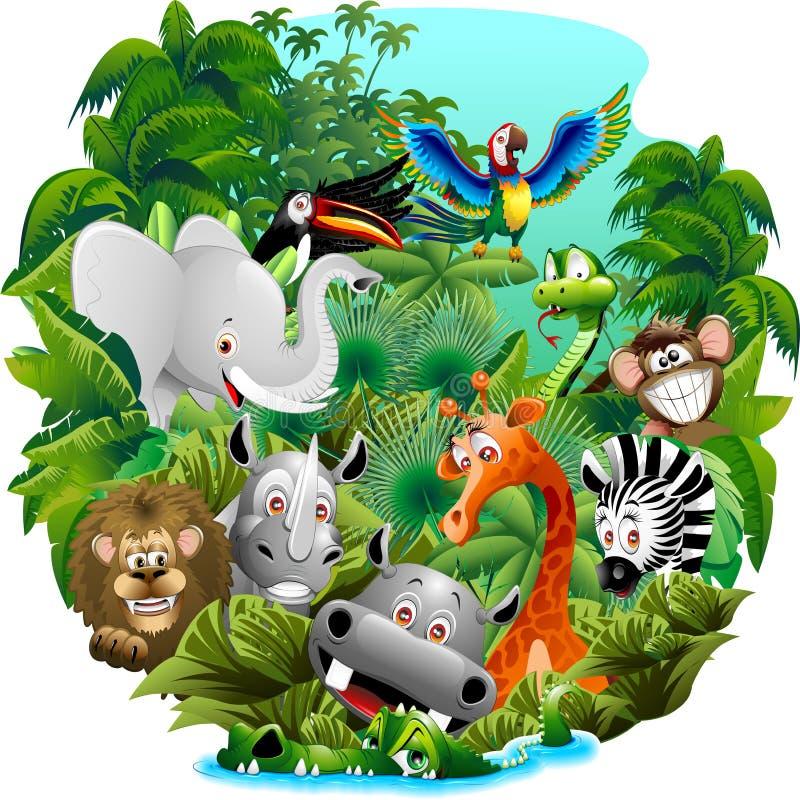 Desenhos animados dos animais selvagens na selva ilustração stock