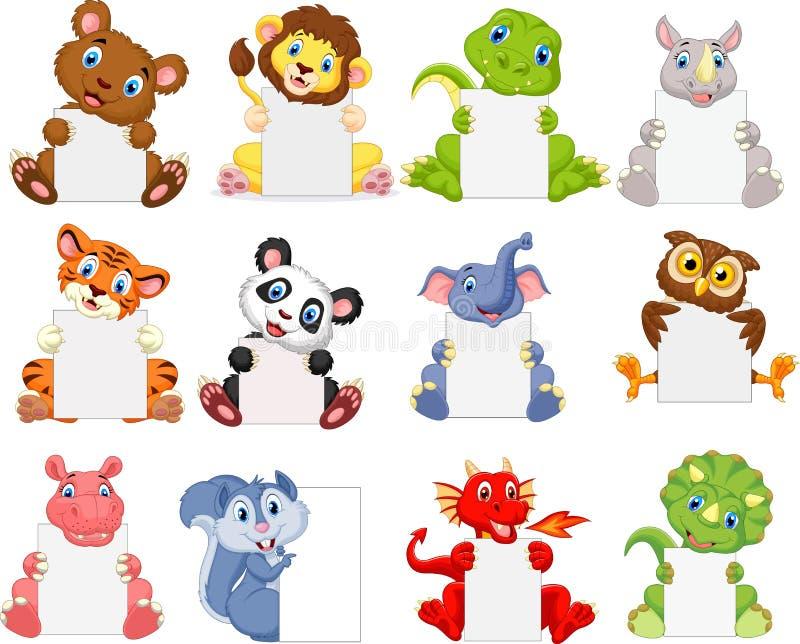 Desenhos animados dos animais selvagens que guardam o sinal vazio ilustração royalty free