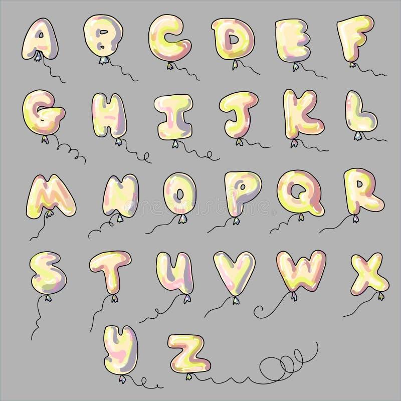 Desenhos animados dos ballons do alfabeto ilustração royalty free