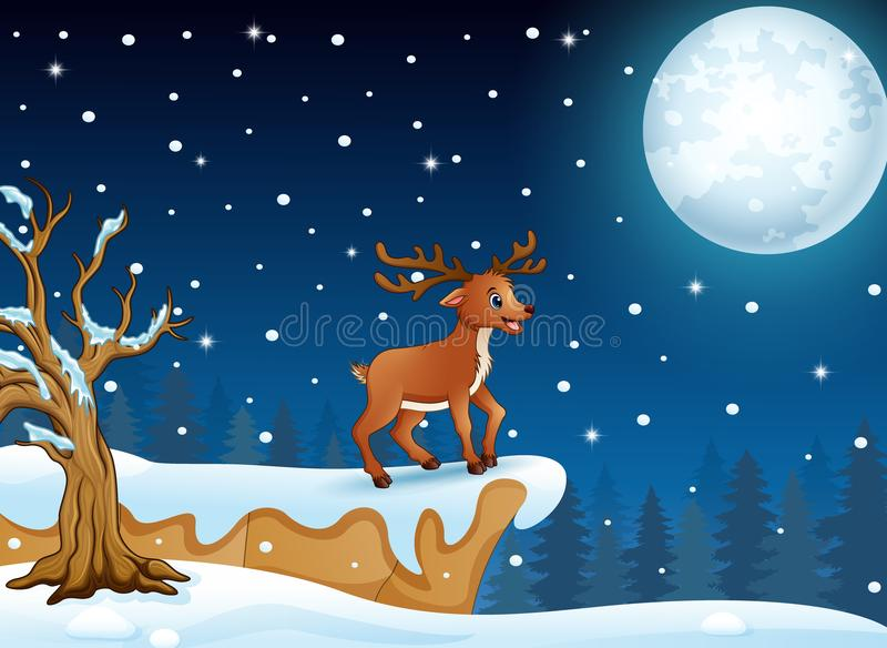 Desenhos animados dos cervos que estão no monte na noite de Natal ilustração royalty free