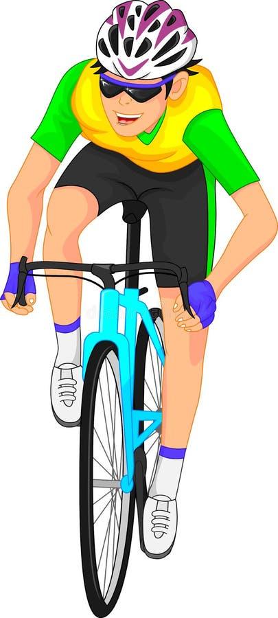 Desenhos animados dos ciclistas ilustração royalty free