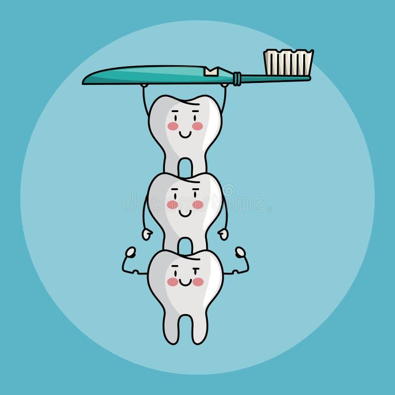 Desenhos animados dos cuidados dentários ilustração do vetor
