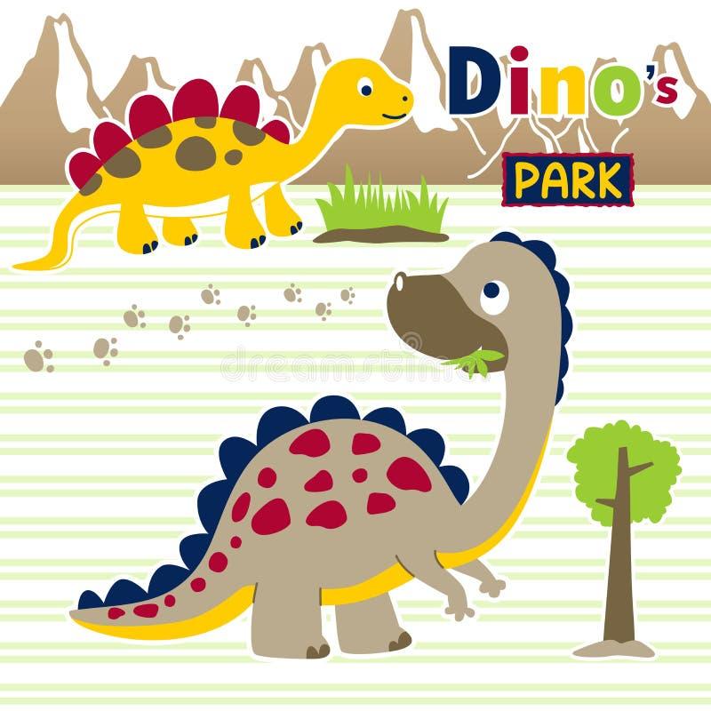 Desenhos animados dos dinossauros em fundo listrado ilustração stock