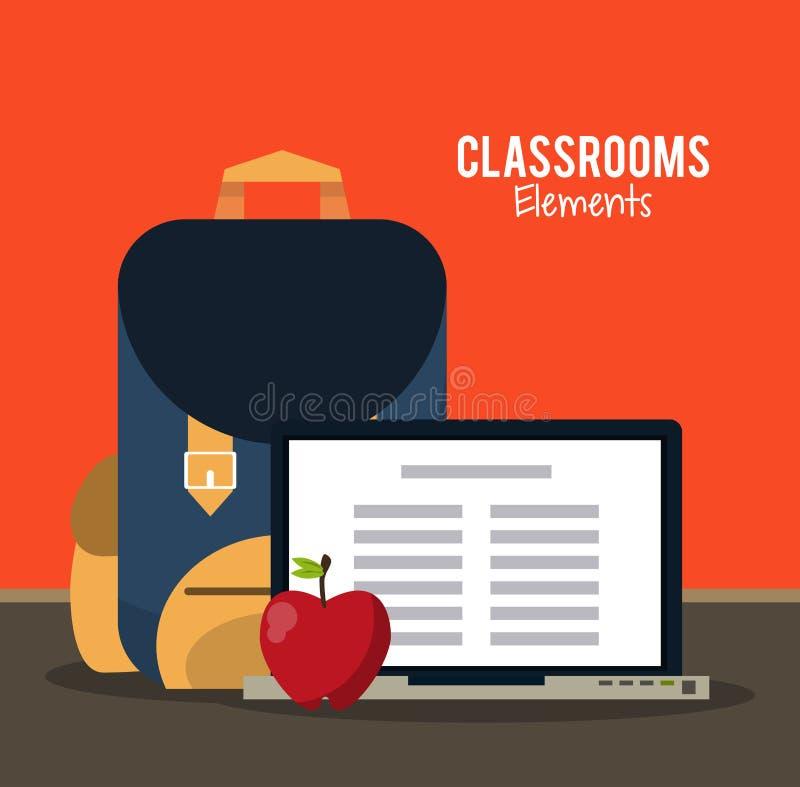 Desenhos animados dos elementos da sala de aula ilustração stock