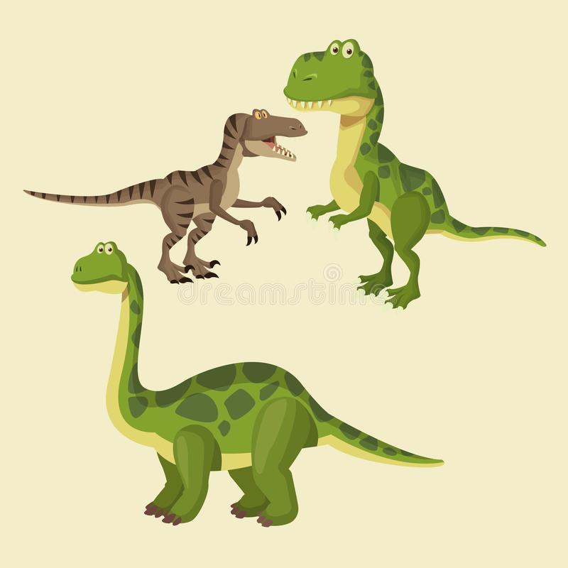 Desenhos animados dos elementos dos dinossauros ilustração stock